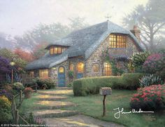 """Lilac Cottage [2002] ©Thomas Kinkade """"   An artist works with all his senses. It might not seem that painting has anything to do with the sense of smell, but in the case of Lilac Cottage, it does.The 4th issue in the Flower Cottages of Carmel collection is inspired by a real cottage I discovered amidst an overgrown garden in Carmel, but more than that, it is my attempt to evoke the heady perfume of lilacs."""""""