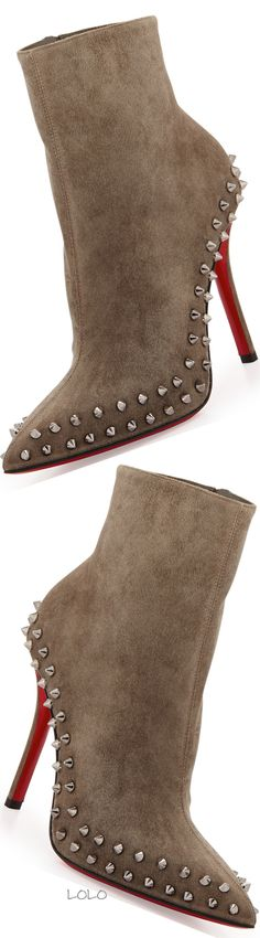 Christian Louboutin Wiletta Spike-Trim Suede Red Sole Bootie