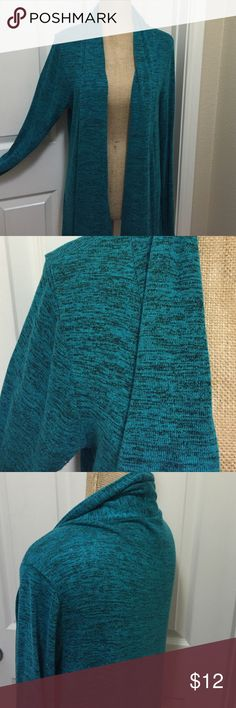 EUC Turquoise Cardigan Excellent used condition. Size L juniors. 74% rayon, 22% polyester, 4% spandex. Marled turquoise and black color. Please ask for measurements if you are unsure of fit Fig & Blu Sweaters Cardigans