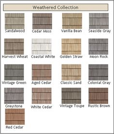 vinyl shakes in straw color is our choice for the lower half of the front of the house.Weathered vinyl shakes in straw color is our choice for the lower half of the front of the house. Vinyl Shake Siding, Vinyl Siding Colors, Cedar Shake Siding, Exterior Siding Colors, Exterior Design, Cedar Shakes, Cedar Shingle Siding, Siding Colors For Houses, Best Vinyl Siding