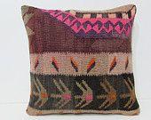 20x20 kilim pillow 20x20 boho chic pillow large pillow case gypsy pillow cover large kilim pillow throw pillow couch pink pillow rug 27229
