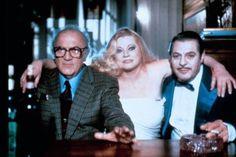 Marcello Mastroianni, Anita Ekberg, Federico Fellini on the set of Fellini's Intervista