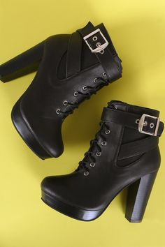 70169f4c1058 Buckled Lace Up Platform Chunky Heeled Booties