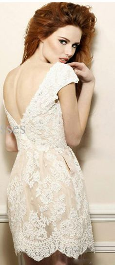 Courthouse choice: Ivory lace dress--love love-lace, pockets, ivory, an semi-backless