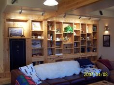 downstairs rec room built-in shelves