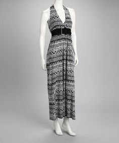 Take a look at this Ivory & Black Tribal Halter Maxi Dress by Dress Shop Collection on #zulily today!