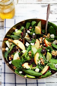 Apple Cranberry Walnut Salad Crisp apples, dried cranberries, feta cheese, and hearty walnuts come together in a fresh Autumn salad.