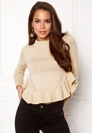 BUBBLEROOM Livia knitted sweater Beige Bubbleroom.no Beige Sweater, Peplum, Blouse, Long Sleeve, Sleeves, Sweaters, Tops, Women, Fashion