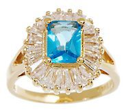 Jacqueline Kennedy Simulated Aquamarine & Diamond Ring - J262296