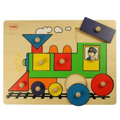 Choo choo! Early learners of 18 months+ will love this simple and bright steam train puzzle, featuring lift-out pieces with pegs that are perfectly sized for small hands to play with! Ideal for developing coordination, imagination and dexterity and an excellent first guide to shapes and colours.