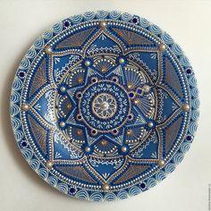 Купить Русская краса - синий, Тарелка декоративная, тарелка настенная, тарелка в подарок, тарелка с росписью