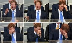 Harry's many facial expressions as he watches a football match between Britain and Brazil - the game ended in a draw.