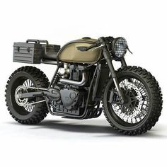 Equitare Vivere // The Bullitt: Triumph desert-sled doomsday concepts by Ziggy Moto Cafe Bike, Cafe Racer Bikes, Cafe Racer Motorcycle, Moto Bike, Motorcycle Art, Motorcycle Design, Bike Design, Triumph Cafe Racer, Triumph Scrambler