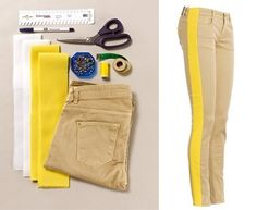 Widen your too-tight pants using this sewing tutorial. Add a bit of color to your plain jeans and for shorts use another pair of jeans/skinnys to add color and length(Diy Ropa Pantalones) Sewing Hacks, Sewing Tutorials, Sewing Patterns, Video Tutorials, Couture Bb, Diy Vetement, Clothing Hacks, Sewing Techniques, Sewing Clothes