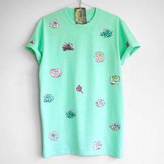 SUCCULENT T SHIRT. 100% cotton T shirt with succulents. Mint. Teal. Green. Unique T shirts.