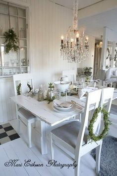 all through the winter and summer-- my table needs to be refinished! I love white it is so dramatic and versatile!