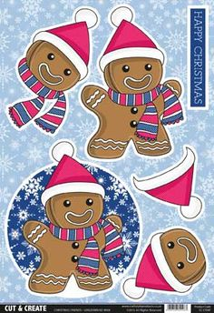 Foil Play - card making & paper craft supplies, free p&p when you spend over Christmas Sheets, 3d Christmas, Christmas Drawing, Christmas Cards To Make, Christmas Pictures, Xmas Cards, Gingerbread Crafts, Gingerbread Man, December Daily