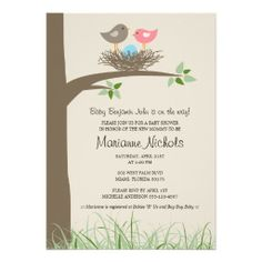 Baby Boy Bird's Nest Baby Shower Announcements