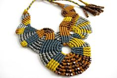 Freeform Beaded Macrame Necklace in Blue Brown by TammyTJewelry, $275.00