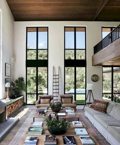 Home Design – Consider your View Through the Window – Dig This Design Home design means to consider all architectural elements in the room. If any element is not in sync then you feel it. Windows are a big part of home design. House Design, Farm House Living Room, Home, High Ceiling Living Room, House Interior, Rustic Living Room, Home Interior Design, Living Decor, Living Room Designs