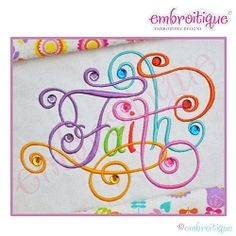 Faith Calligraphy Script Embroidery Design, Large - 6 Sizes | Words and Phrases | Machine Embroidery Designs | SWAKembroidery.com Embroitique