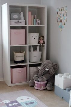 Kallax storage in the children's room 👌🏻 – – ideas – Kids Room 2020 Baby Bedroom, Baby Room Decor, Nursery Room, Girls Bedroom, Baby Rooms, Girl Nursery, Bedroom Furniture, Bedroom Decor, Little Girl Rooms