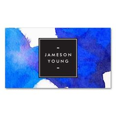 Cool and Elegant Abstract Blue Watercolor Business Card Template - ready to personalize with your info