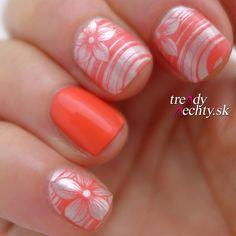 Nail art, Stamping, Orange nails