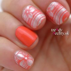 Nail art, Stamping, Orange nails