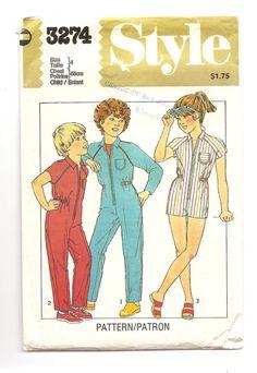 1980' Patron Style 3274 Combinaison pour enfant Longue Courte Rétro Vintage…