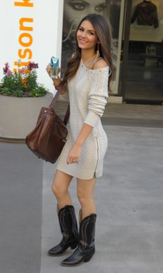 Wearing a sweater dress with boots: a perfect outfit. #CowboyBoots #CowgirlBoots   Teen Vogue Daily: Western Wonder