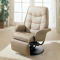 Lowest price online on all Coaster Furniture Faux Leather Swivel Recliner Chair in Bone Finish - 7502
