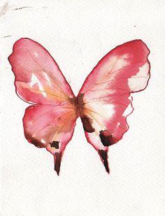 REBAJAS mariposa rosa con maron y blanco. acuarela por LaPolea