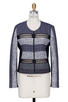 Jonathan Simkhai - Blue Quilted Jacquard Cropped Jacket | Shop Online