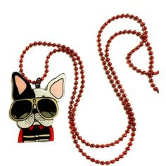 Bulldog, Dog with Glasses, Acrylic long Necklace, Funny, Cool, Dog... ($22) ❤ liked on Polyvore featuring puppies