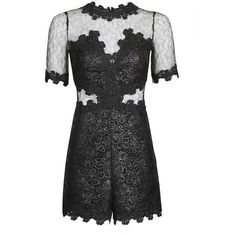 TopShop Coated Lace Playsuit (529.735 COP) ❤ liked on Polyvore featuring jumpsuits, rompers, long-sleeve rompers, topshop rompers, sheer romper, lace romper and playsuit romper