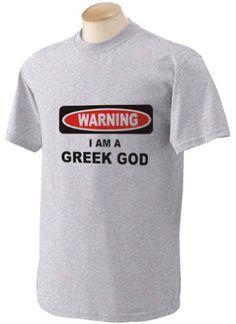 I AM A GREEK GOD Adult Short Sleeve T-Shirt GREY LARGE
