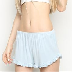Light Blue Brandy Melville Vodi Shorts These were my first pair, but I have not worn them as much as the others! There is a small stain on them that is not too dark (as you can see from the price) and they are still in good condition! I will look at some offers but no low balls☺️ (I am willing to trade as well) Brandy Melville Shorts