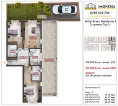 Apartamente de vanzare Mihai Bravu Residence 9 -3 camere tip C + Floor Plans, Floor Plan Drawing, House Floor Plans