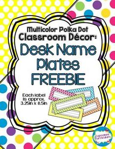 Polka Dot Name Plates {FREEBIE} Good alternative for those who ruin the one I buy them. 2nd Grade Classroom, Preschool Classroom, Future Classroom, Classroom Themes, Desk Name Tags, Desk Name Plates, Too Cool For School, School Fun, School Stuff