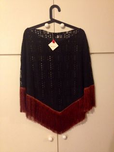 black lace cape with brown long trim - gorgeous over a maxi slinky black dress!!!!