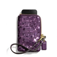The Poppy North/south Universal Case In Sequin Signature C Fabric from Coach
