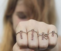 Copper Poetry charm Ring...Sterling silver ring with Poetic copper word charm