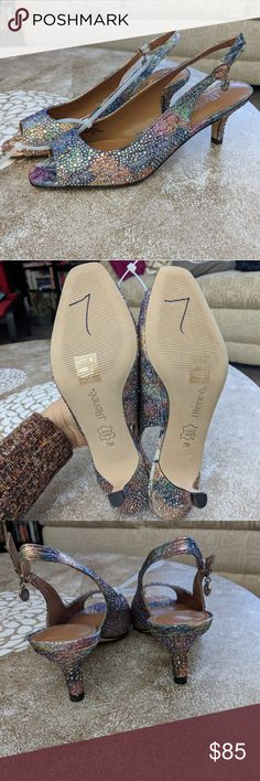 J. Renee Impuls silver pastel heel These are a very different style. Something about them caught my eye. They could spice up a solid color dress or be a statement piece at a wedding!   Brand new, neverworn. Bottoms have size written on them. Compare price to Amazon. J. Renee Shoes Heels