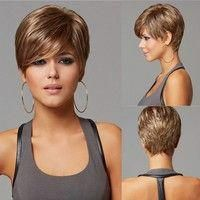 Womens Fashion Ombre Brown Wig European American Hairstyle Fashion Short Pixie Cut Wig with Bangs Short Straight Hair Heat Resistant Synthetic Hair Wigs for Women Ladies Natural Hair Wigs Party Dailywear Everyday Wigs Costume Wig Hair Accessories Pixie Cut Kurz, Pixie Cut Wig, Pixie Cut With Bangs, Wigs With Bangs, Pixie Cuts, Short Pixie Haircuts, Pixie Hairstyles, Short Hairstyles For Women, Straight Hairstyles