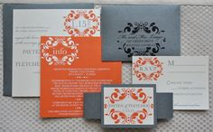 I like all of this.    Melissa Wedding Invitation Suite - Pewter Silver, Orange and Ivory.
