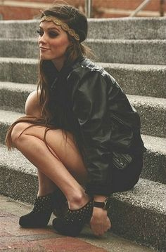 bold fashion, cloth, headband, leather jackets, boho, grunge rocker, shoe, black, rocker chic