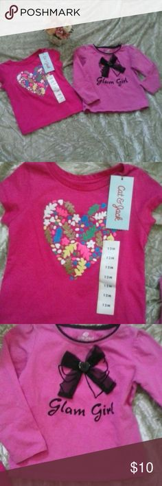 Two Pink Valentine's Baby Girl T-Shirts 12 Month Bundle of 2 shirts. Cat & Jack T is new with tags and perfect for Valentine's Day with large heart design and short sleeve2nd T Shirt made by Okie Dokie size 24 months is pre-loved and like New however runs small and measures exactly like 12 month T. Both are adorable!  Inv W1 Cat & Jack Shirts & Tops
