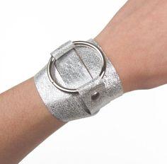 Silver leather wrap // bracelet by Blydesign on Etsy, $35.00