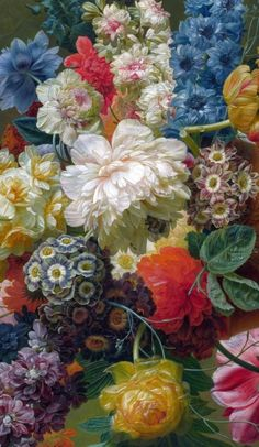 Flowers in a Vase - Paulus Theodorus van Brussel, 1792 (detail). actually a painting not a print, but was just to incredible for me to pass it up. Botanical Illustration, Botanical Prints, Illustration Art, Illustrations, Art Floral, Flower Vases, Flower Art, Art Flowers, Patterns Background